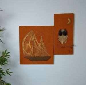 Vintage 70s String Art Set Boat Owl Orange